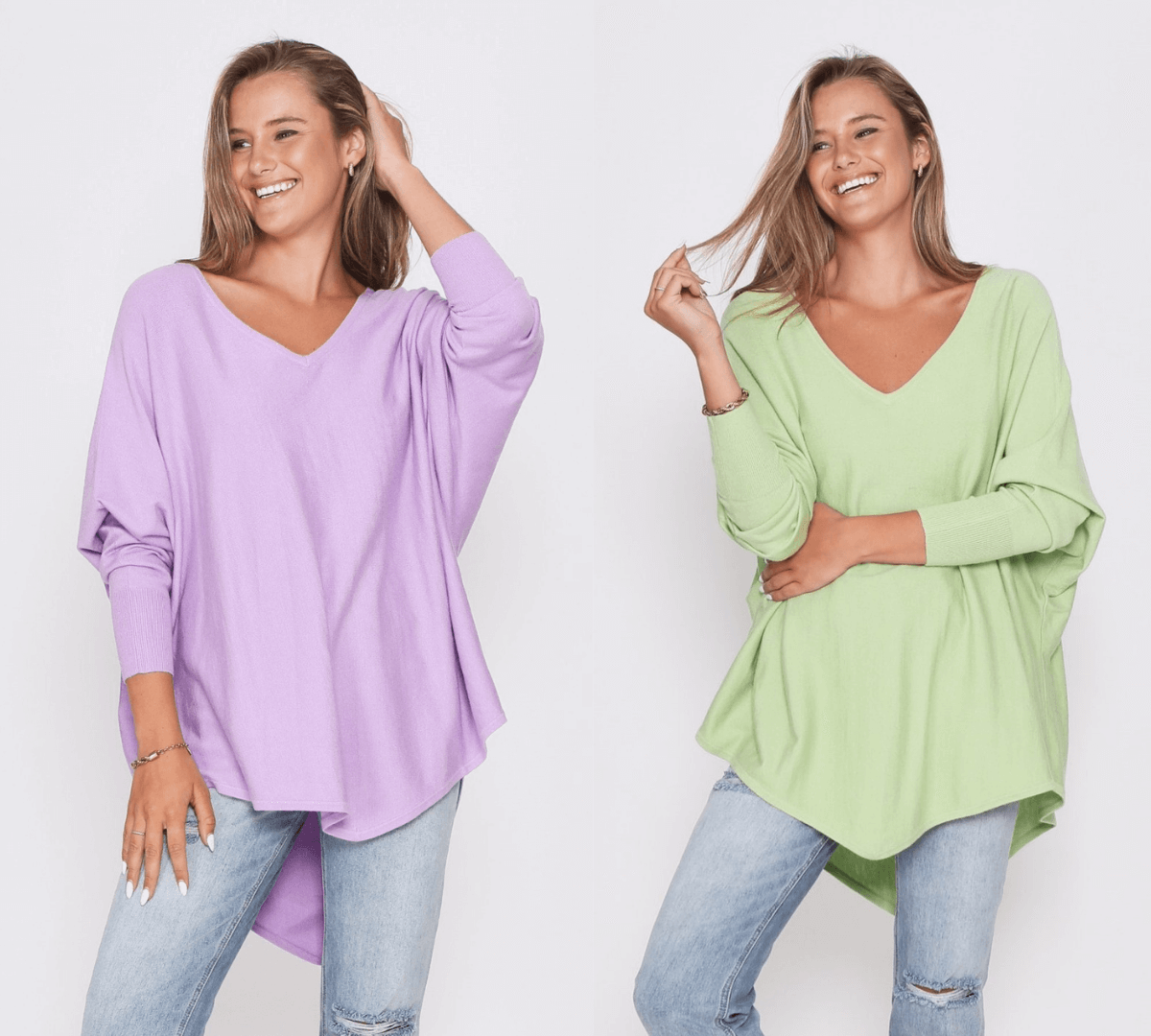 Two Zali Knit Top Bundle - Lilac and Lime