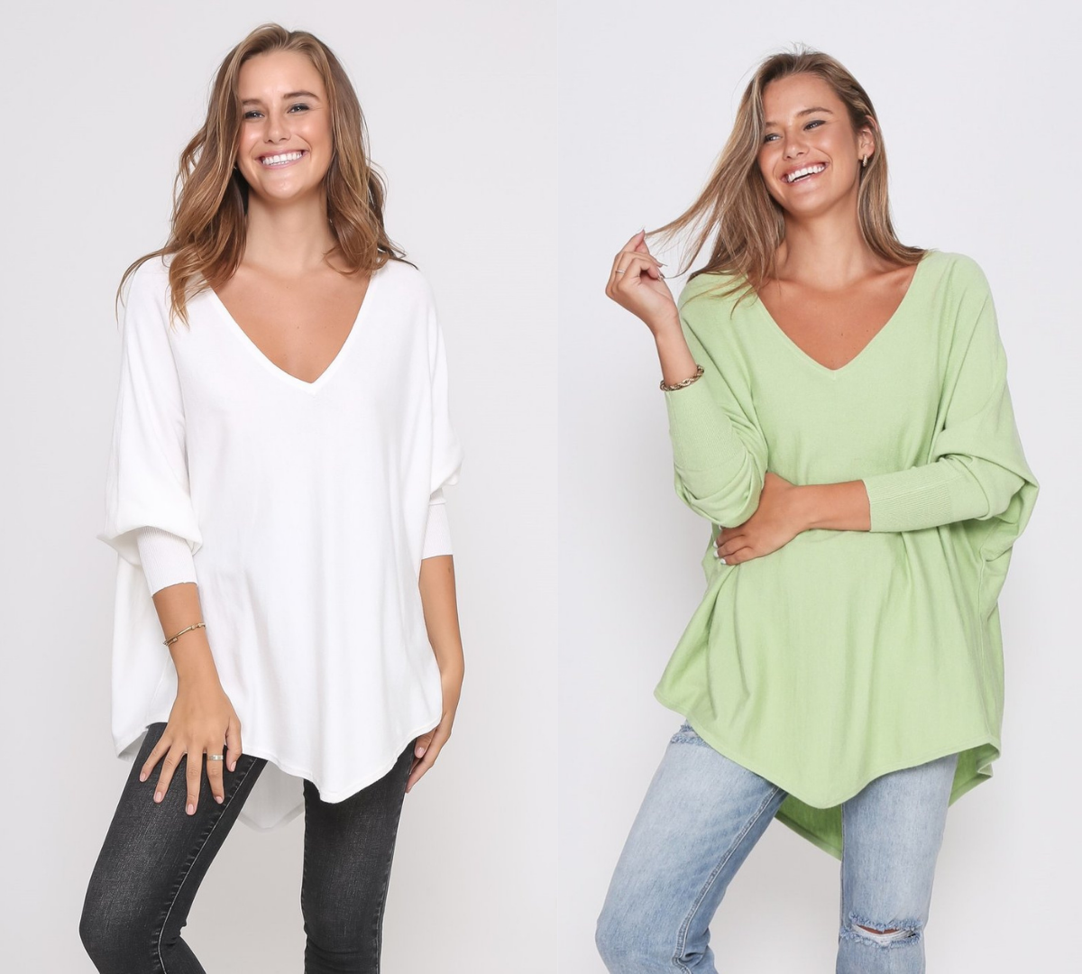 Two Zali Knit Top Bundle - White and Lime