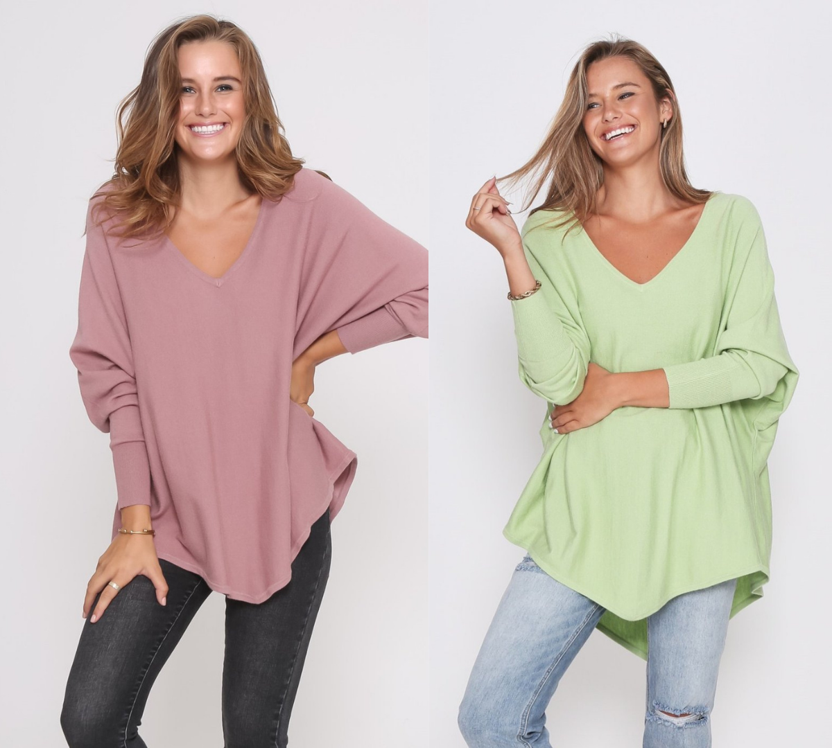 Two Zali Knit Top Bundle - Blush and Lime
