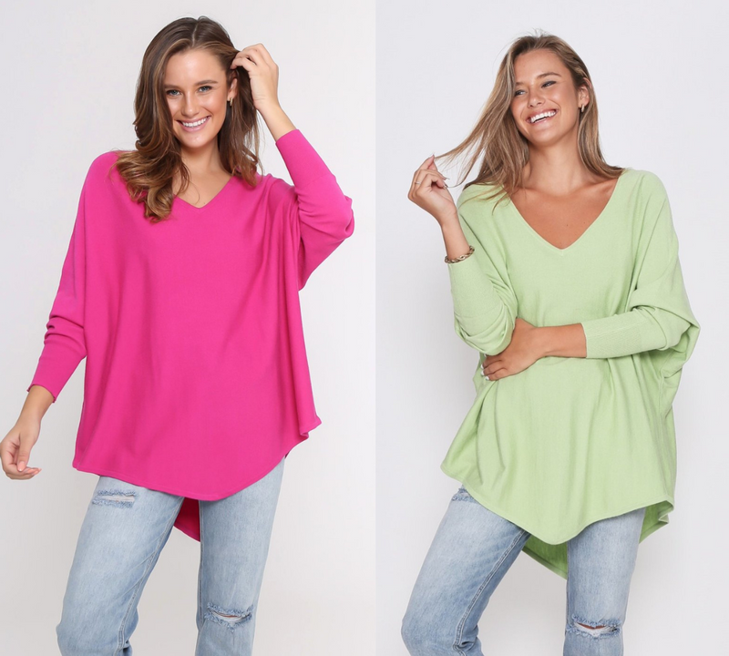 Two Zali Knit Top Bundle - Fuschia and Lime