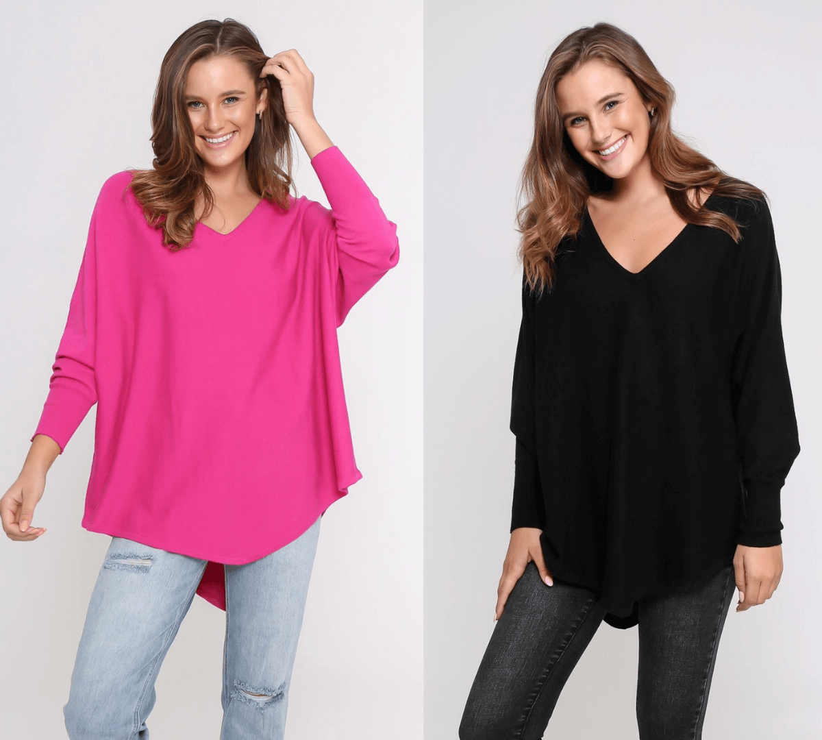 Two Zali Knit Top Bundle - Fushcia and Black