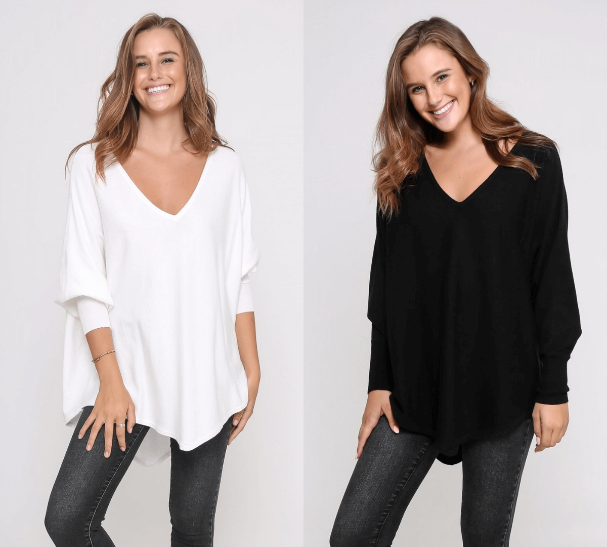 Two Zali Knit Tops Bundle - White and Black