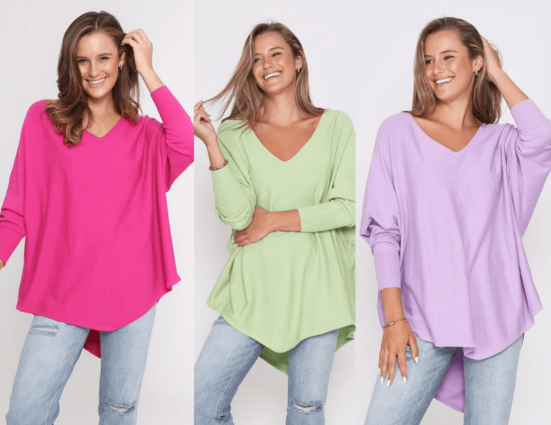 Three Zali Knit Tops Bundle - Fuschia / Lime / Lilac