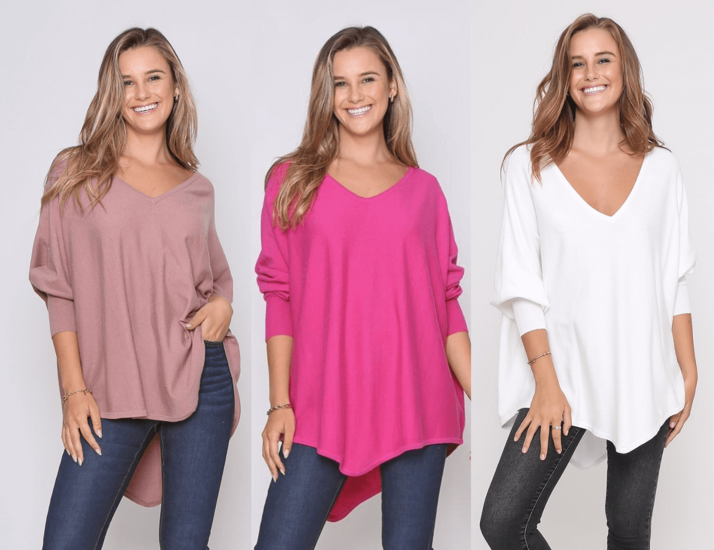 Three Zali Knit Tops Bundle - Blush / Fuschia / White