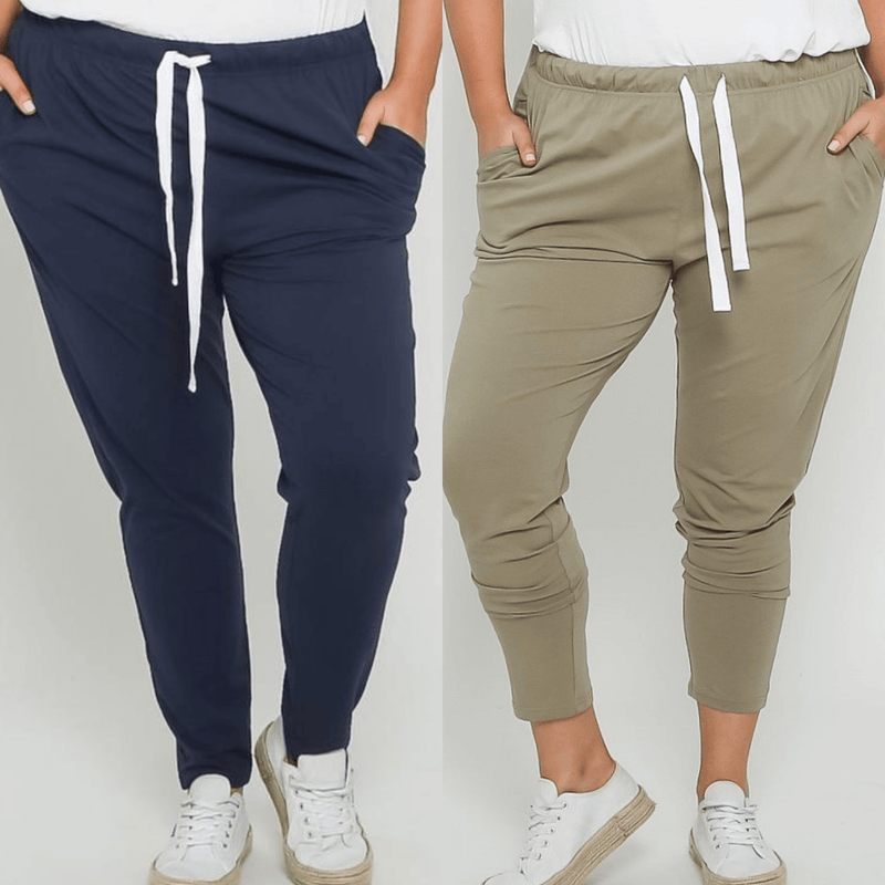 Emily Curve Joggers Two Pair Bundle - Navy and Khaki