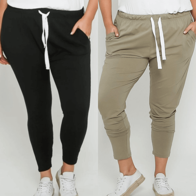 Emily Curve Joggers Two Pair Bundle - Black and Khaki