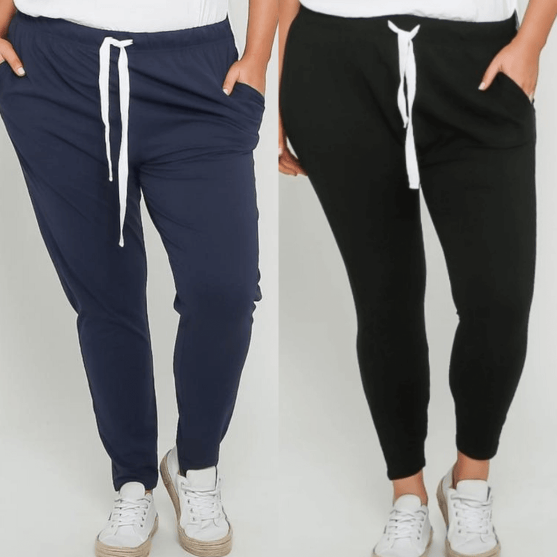 Emily Curve Joggers Two Pair Bundle - Navy and Black