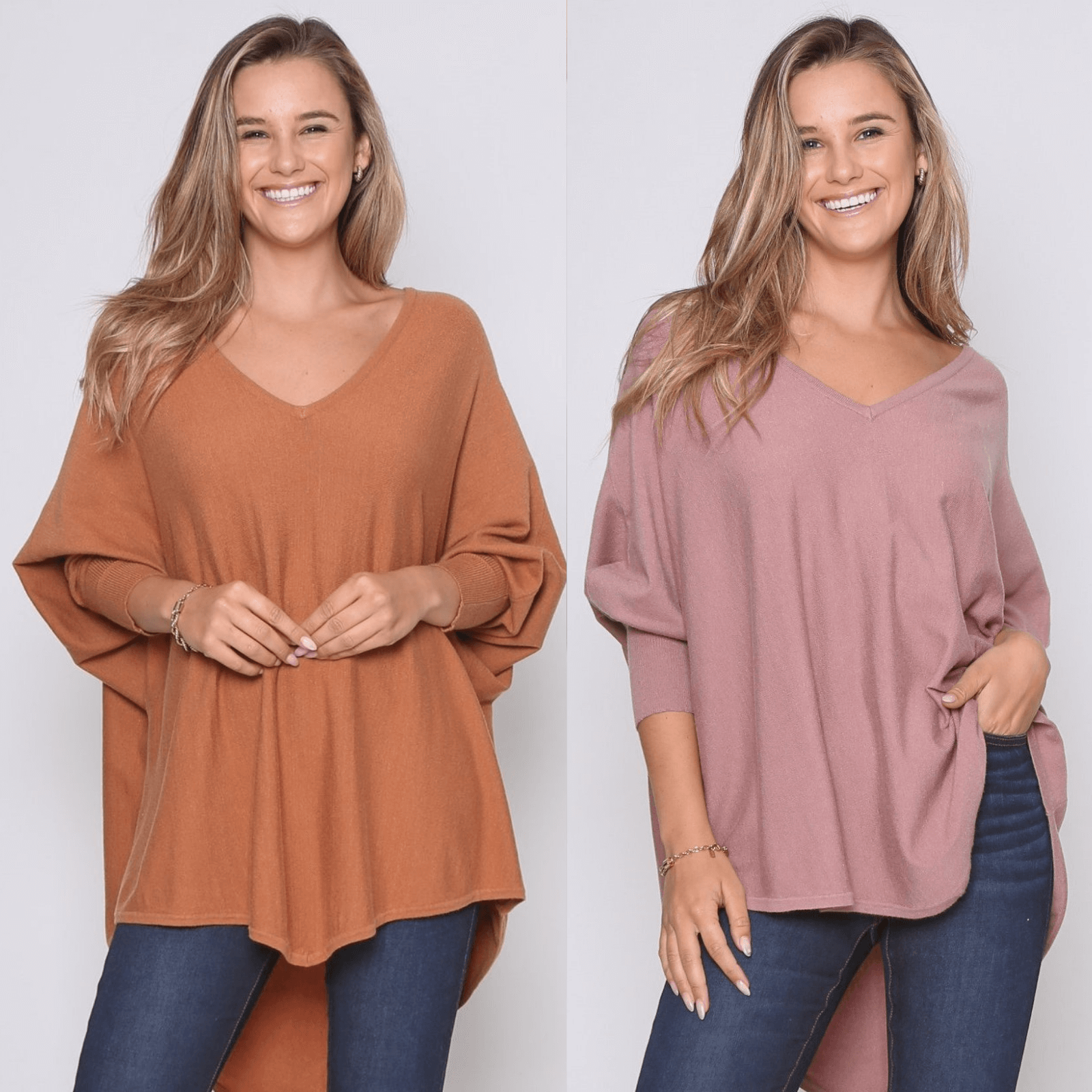 Two Zali Knit Top Bundle - Caramel and Blush