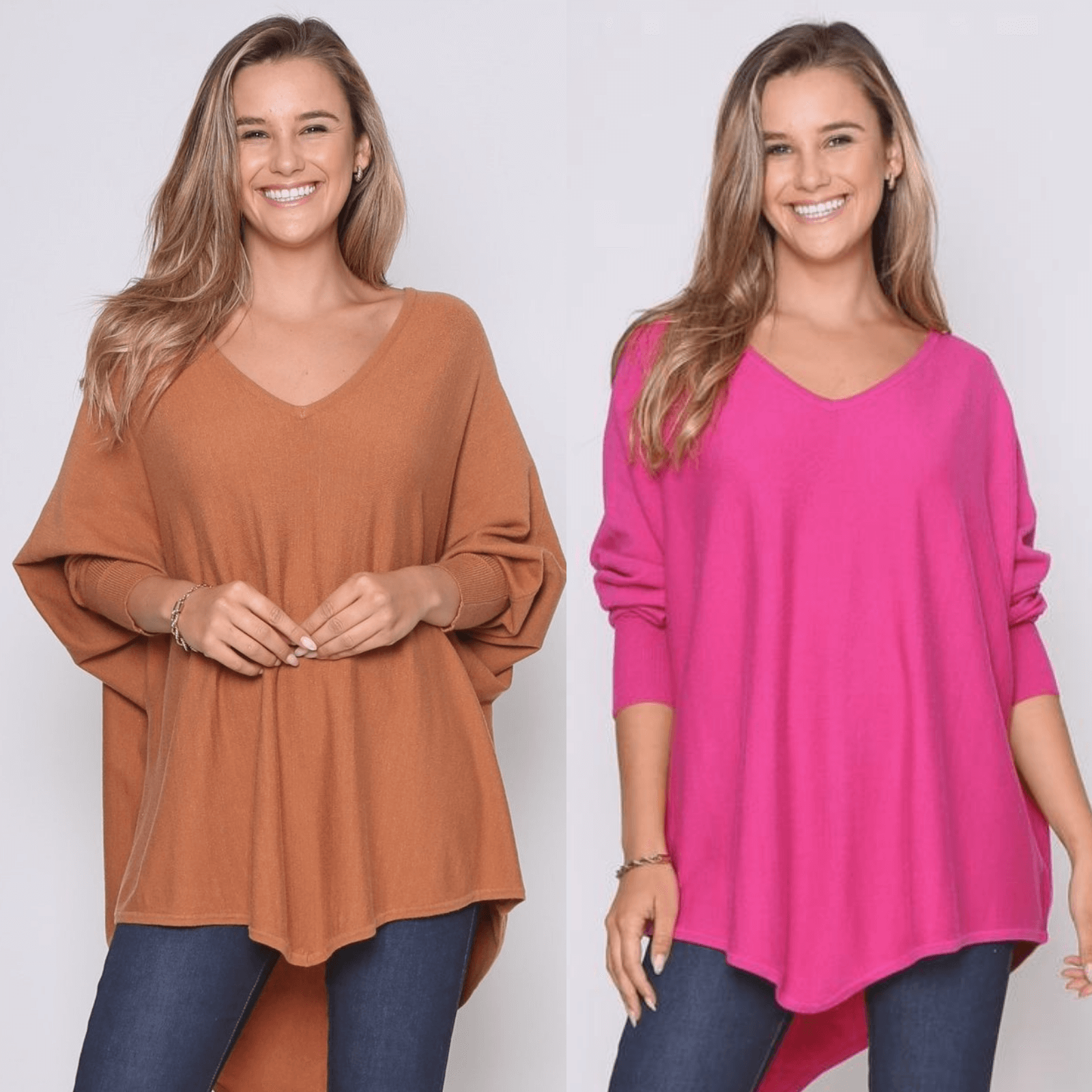 Two Zali Knit Top Bundle - Caramel and Fuschia