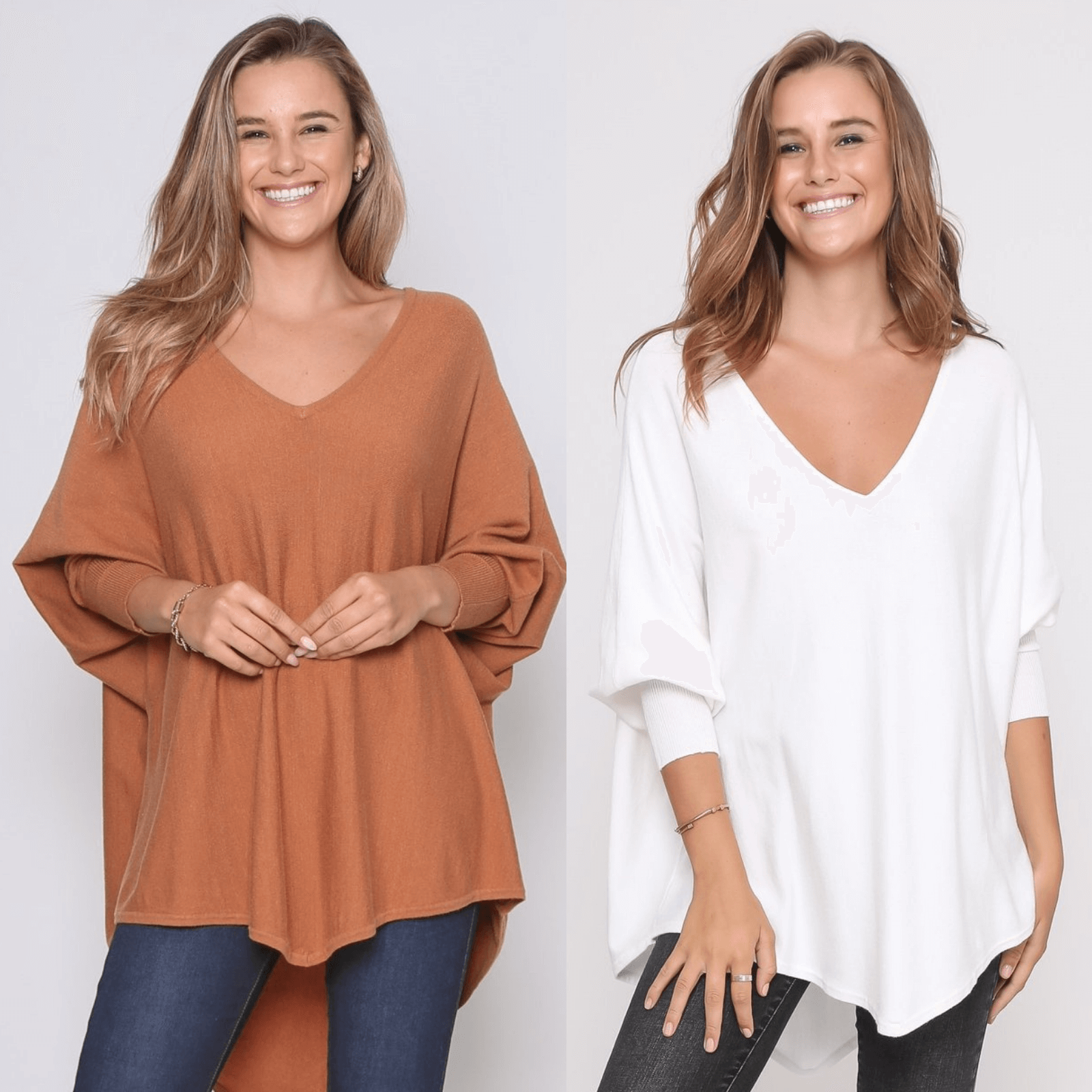 Two Zali Knit Top Bundle - Caramel and White