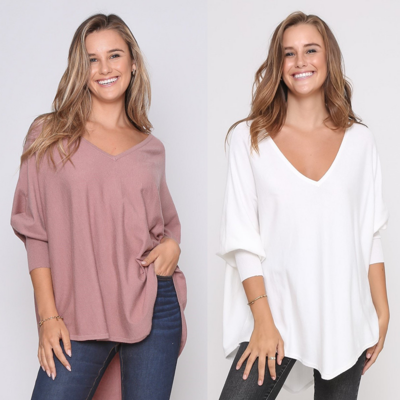 Two Zali Knit Tops Bundle - Blush and White