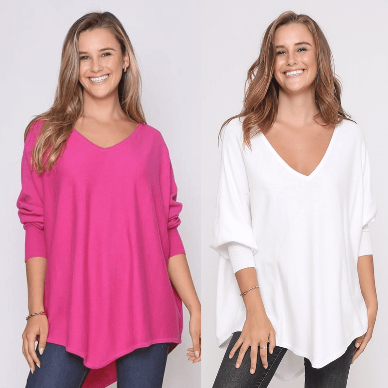 Two Zali Knit Top Bundle - Fuschia and White