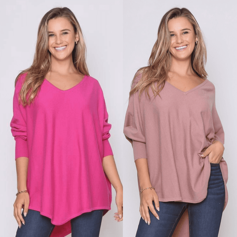 Two Zali Knit Top Bundle - Fushcia and Blush