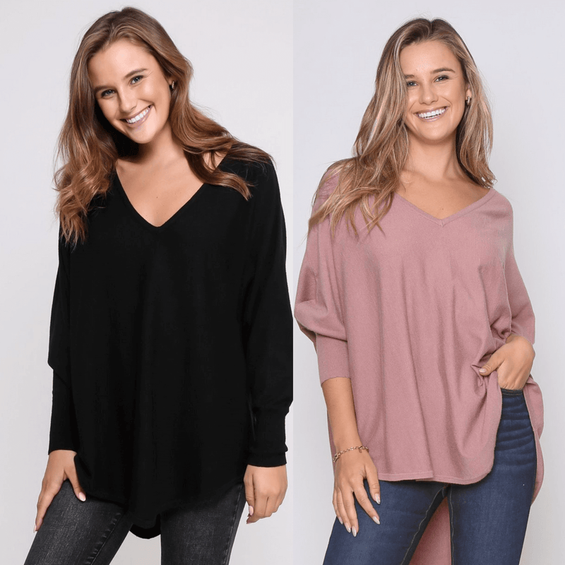 Two Zali Knit Top Bundle - Black and Blush PRE-ORDER