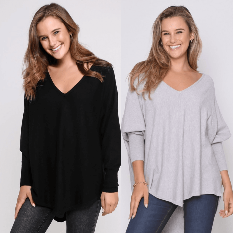 Two Zali Knit Top Bundle -  Black and Grey PRE-ORDER
