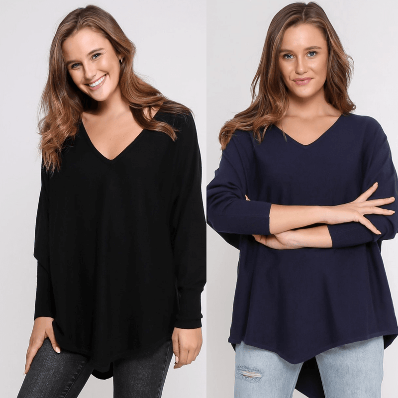 Two Zali Knit Top Bundle -  Black and Navy PRE-ORDER