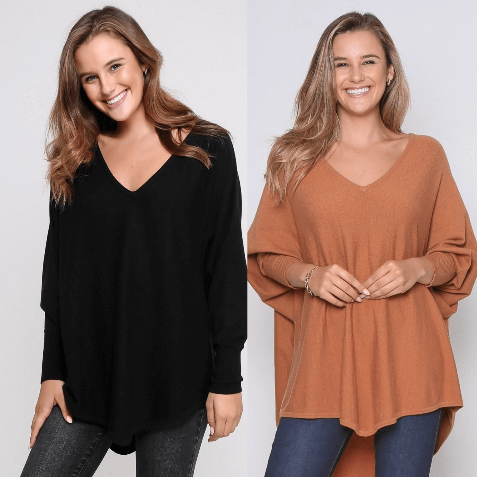 Two Zali Knit Top Bundle - Black and Caramel PRE-ORDER