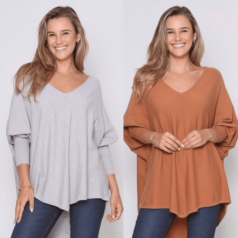 Two Zali Knit Top Bundle - Grey and Caramel PRE-ORDER