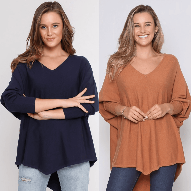 Two Zali Knit Top Bundle - Navy and Caramel PRE-ORDER