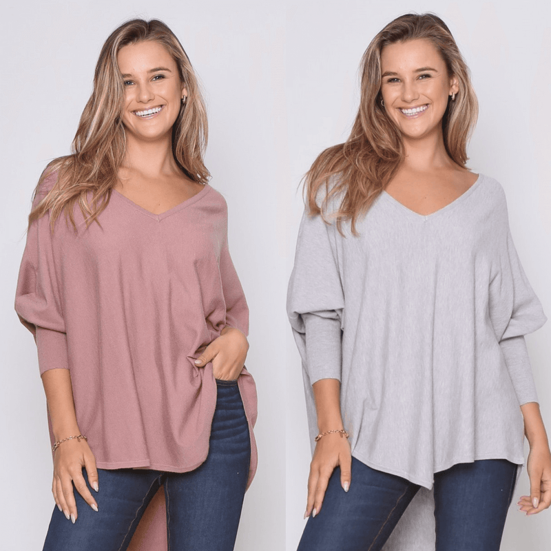 Two Zali Knit Top Bundle - Blush and Grey PRE-ORDER