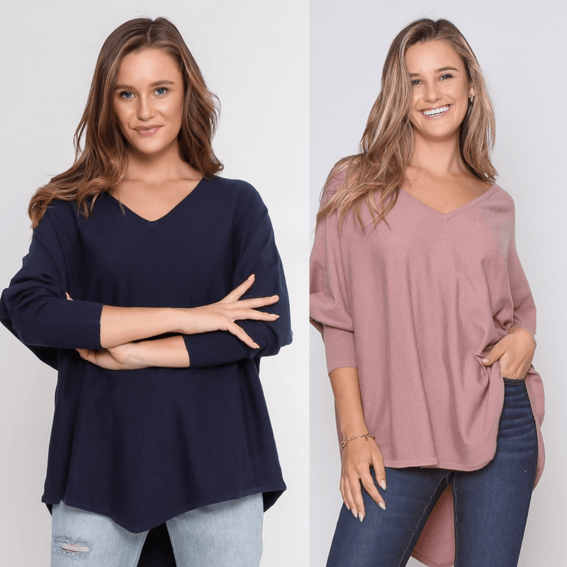 Two Zali Knit Top Bundle - Navy and Blush PRE-ORDER