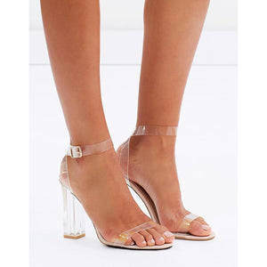 BILLINI INCA CLEAR BLOCK HEELS WITH NUDE FOOTBED
