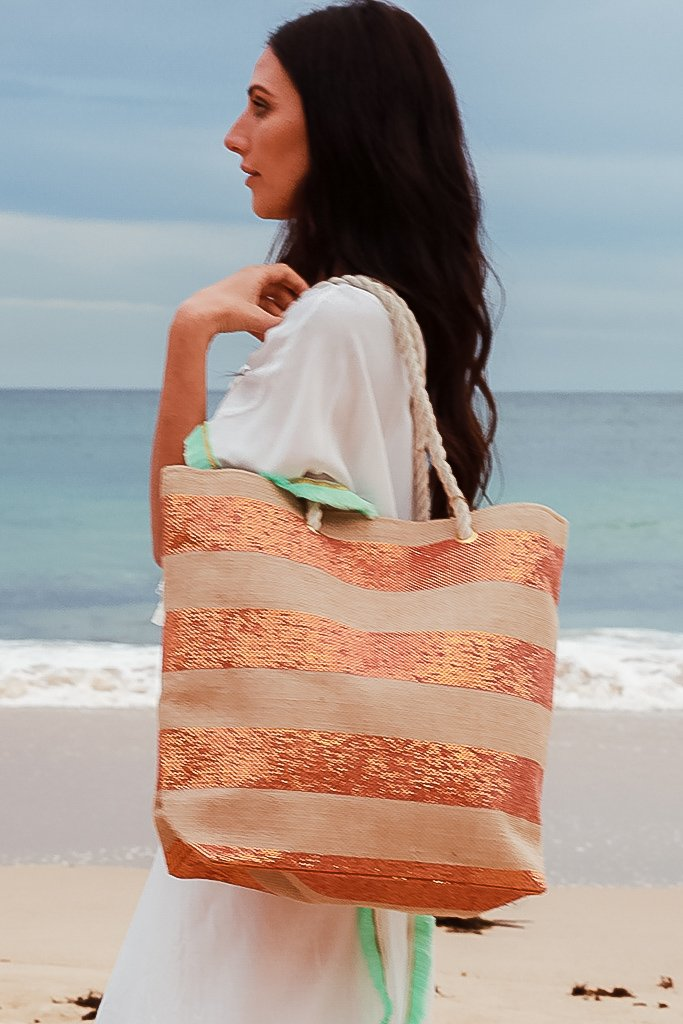 Orange Stripe Beach Bag Red HG1366- Instore