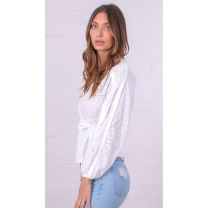 ELLE EYELET CROCHET WRAP TOP WHITE