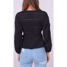 Elle Eyelet Crochet Wrap Top Black