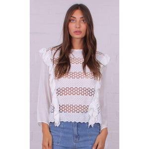 STUNNING FRILL FRONT CROCHET TOP WHITE