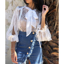 Aria Lace Blouse - White