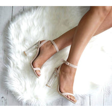 BILLINI FIFI NUDE AND CLEAR BLOCK HEELS