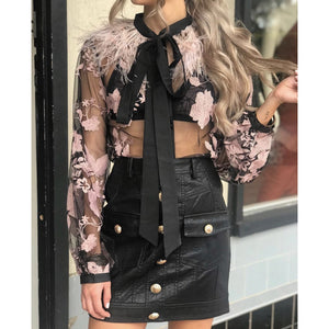 Audrey Black and Winter Pink Feather Blouse