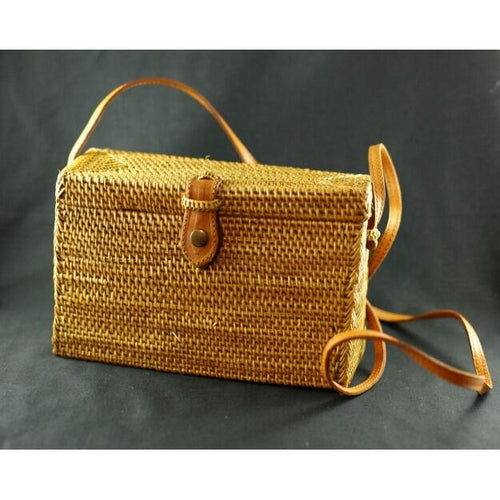 Katie Woven Rattan Tall Rectangle Bag