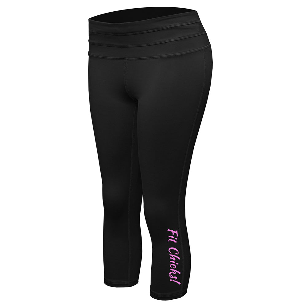 1-Side FIT CHICKS! Capri Leggings [pink logo]
