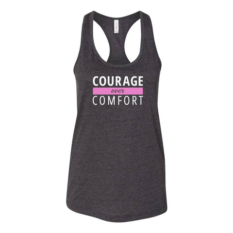 Courage Over Comfort Relaxed Racerback TANK [white logo]