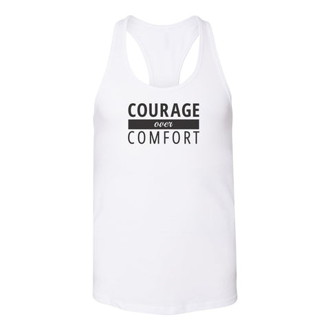 Courage Over Comfort Relaxed Racerback TANK [black logo]