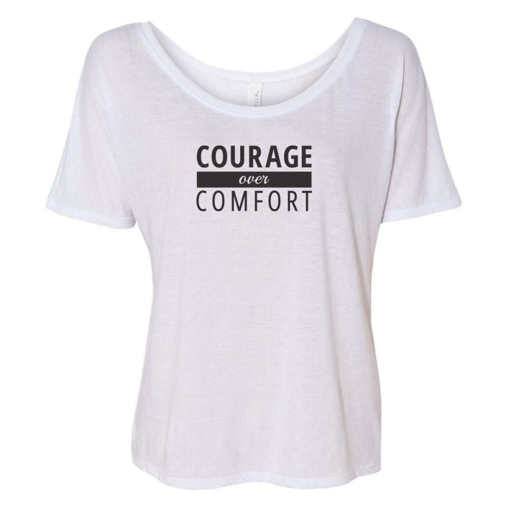 Courage Over Comfort Slouchy TOP (black logo)
