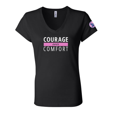 Courage Over Comfort Relaxed V-Neck TEE [white logo]