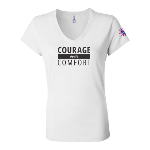 Courage Over Comfort Relaxed V-Neck TEE [black logo]