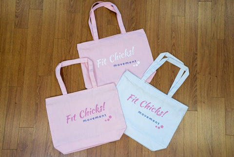 Fit Chicks! Large Tote BAG [white type]
