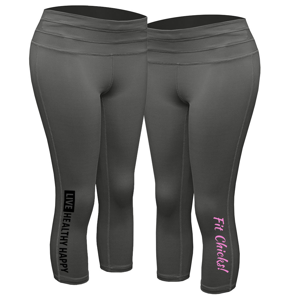 Live Healthy Happy Capri Leggings [black logo]