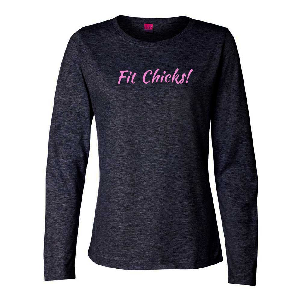 Fit Chicks! Long Sleeve TOP (pink logo)
