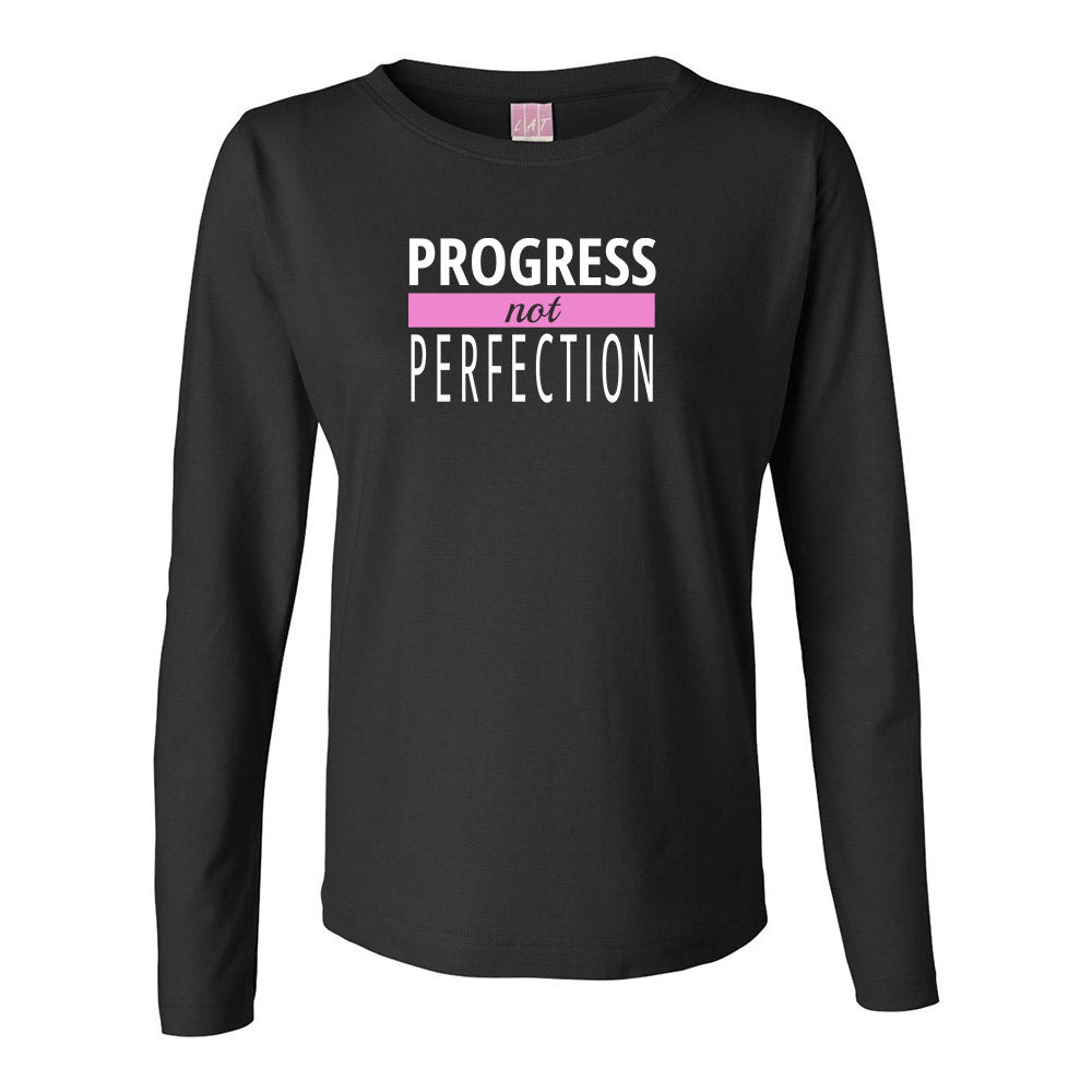 Progress Not Perfection Long Sleeve TOP (white logo)