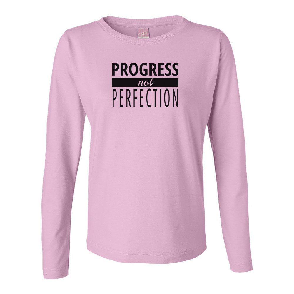 Progress NOT Perfection Long Sleeve TOP (black logo)