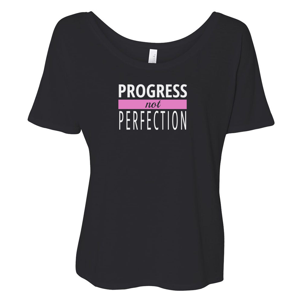 Progress Not Perfection Slouchy TOP [white logo]