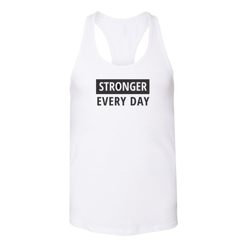 Stronger Every Day Relaxed Racerback TANK [black logo]
