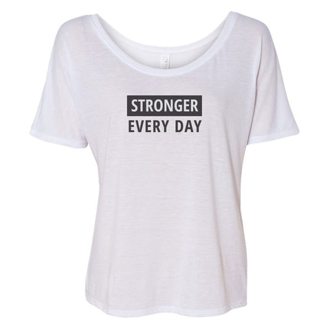 Stronger Every Day Slouchy TOP (black logo)