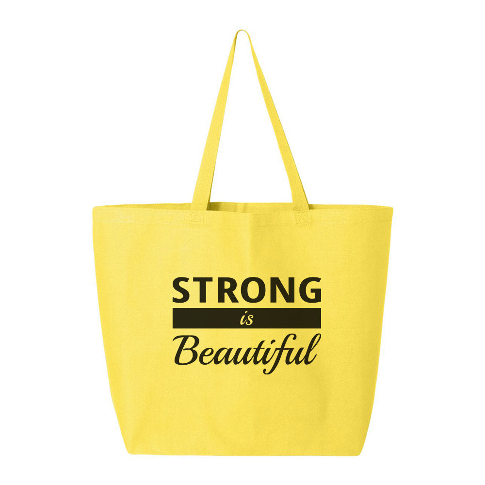 2-Zipper Large Canvas Tote BAG [Yellow Color | Black LOGO]