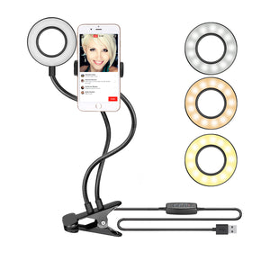 Phone Holder with Selfie Ring Light Black